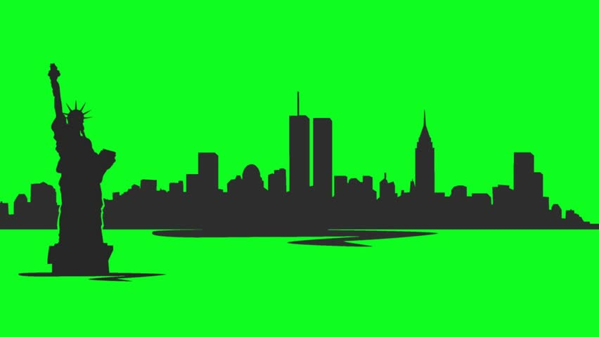 852x480 Long Pan Of A Skyline Silhouette Of The City Of New York City, Usa