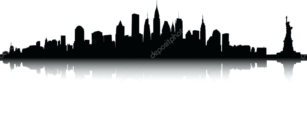1022x382 New York Skyline Outline Together With New Skyline Royalty Free