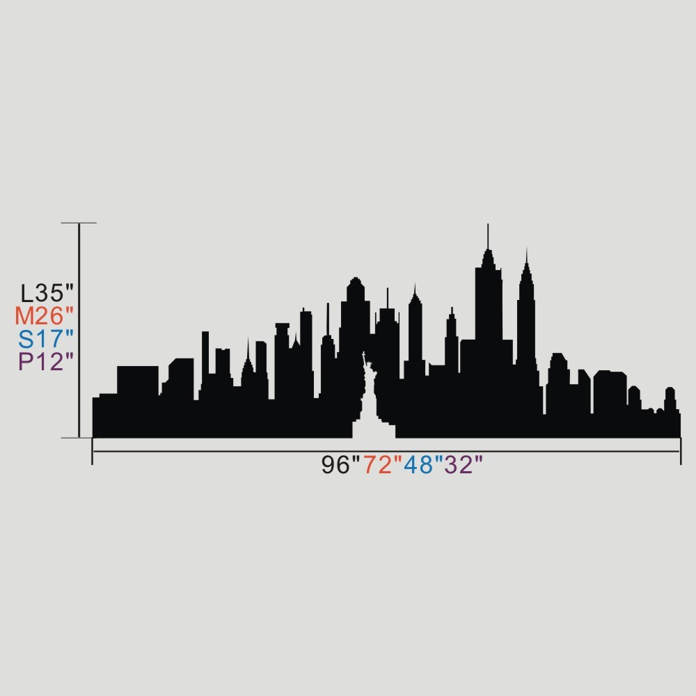 1000x1000 New York City Skyline The Big Apple Wall Sticker Nyc Vinyl Wall