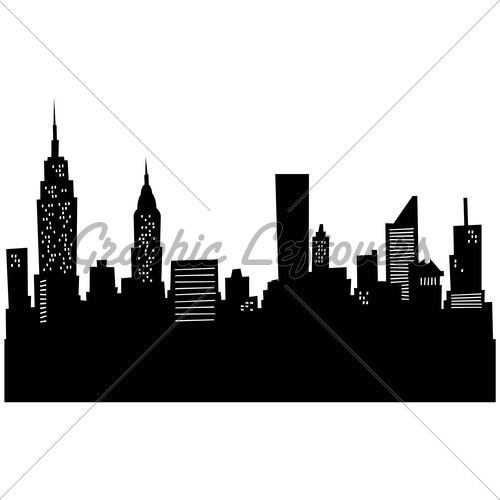 500x500 Cartoon Skyline Silhouette Of New York City. Random