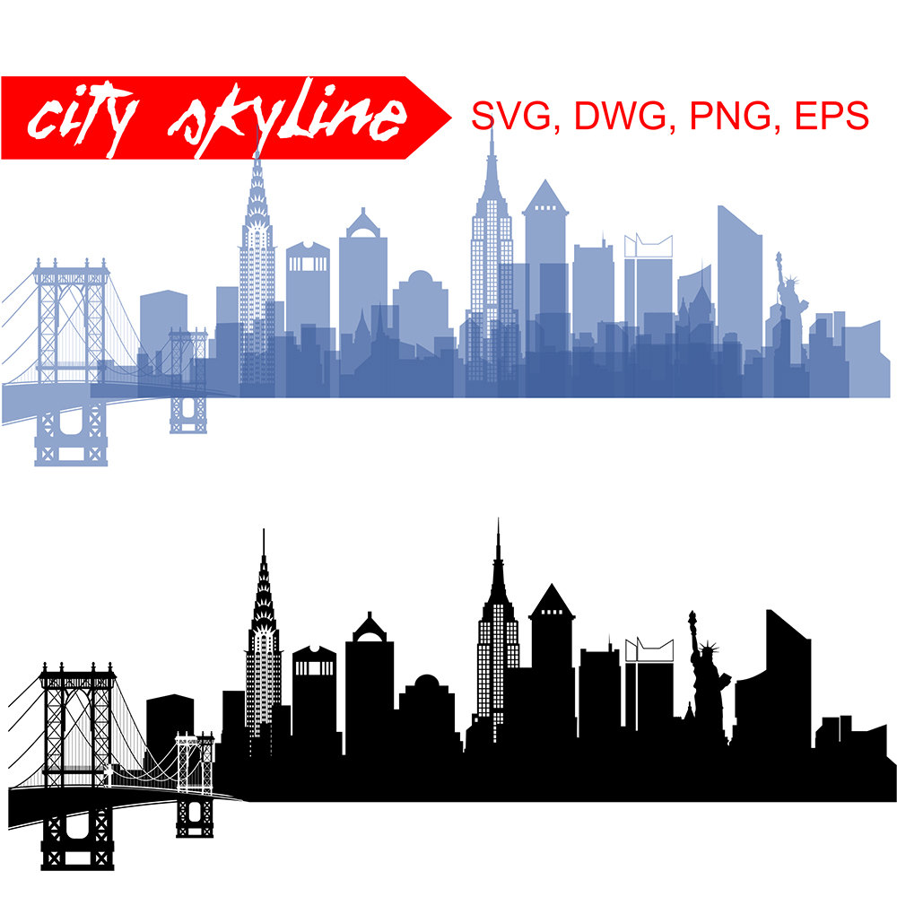 1000x1000 New York Svg New York City Vector Skyline New York City