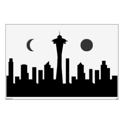512x512 Wednesday March 5 2014. Seattle Skyline Outline. Seattle Cityscape