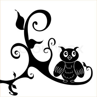 320x319 Black Silhouette Of An Owl On A Branch Of An Oak And The Moon