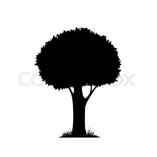 320x320 Oak Tree With Leaves And Grass, Black Silhouette On White