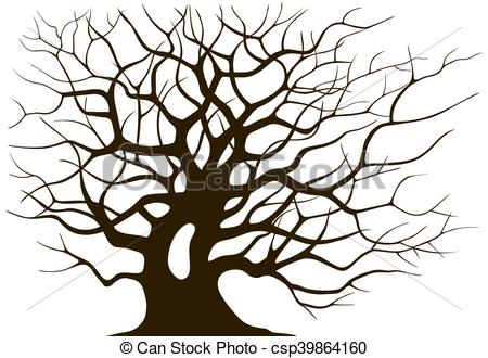 450x330 Silhouette Branching Of An Old Tree On A Light Background Clip Art