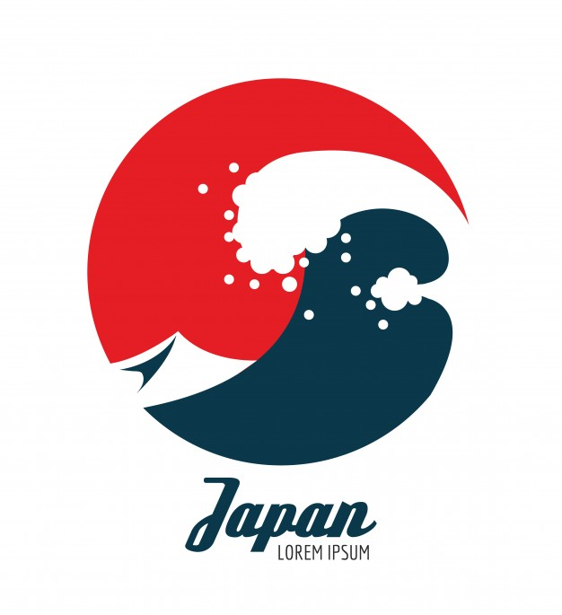 626x685 Ocean Waves In Red Circle. Japanese Icon Design. Flat Elements