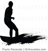 164x175 Royalty Free Surfer Dude Stock Silhouette Designs