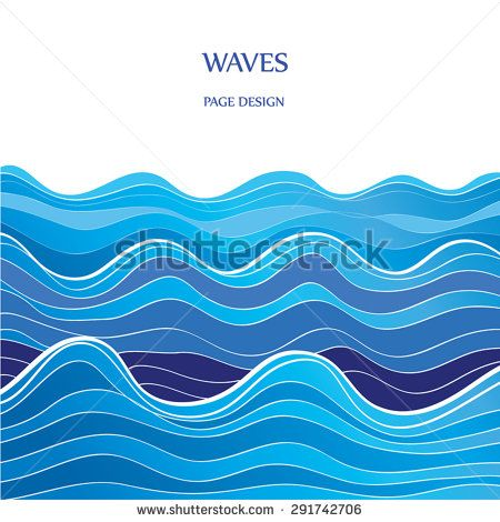 450x470 Blue Graphic Waves Vector Illustration. Blue Watercolor Wave