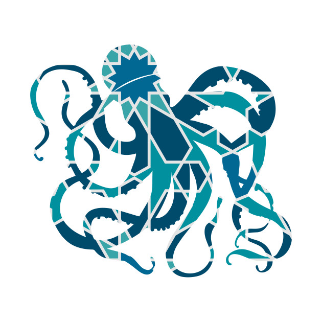 630x630 Great Octopus Silhouette With Pattern