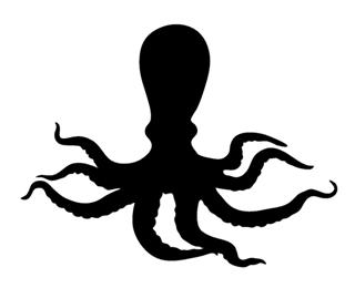 320x260 Octopus Silhouette Decal Sticker