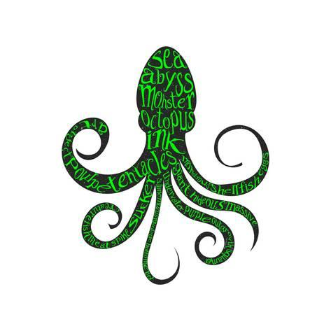 473x473 Typography Monochrome Vintage Poster With Octopus Silhouette,