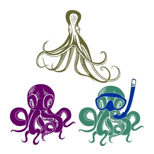 600x600 Octopus Cuttable Design Cut File. Vector, Clipart, Digital