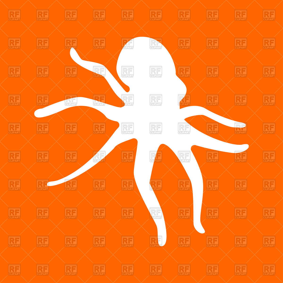1200x1200 Silhouette Of Octopus On Orange Background Royalty Free Vector