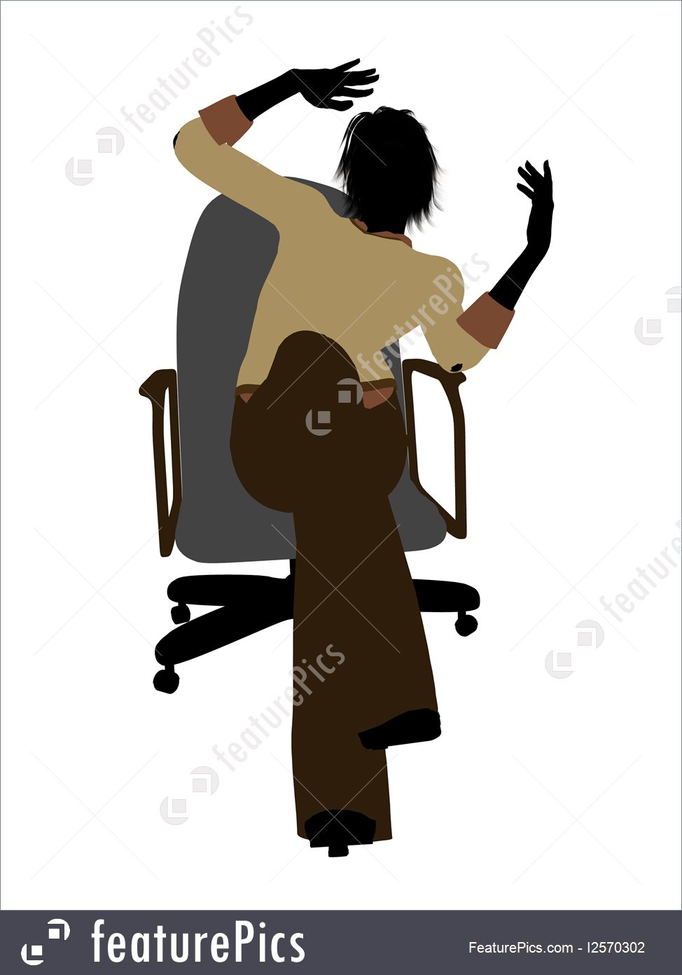 974x1392 Female Executive Sitting On An Office Chair Silhouette Illustration