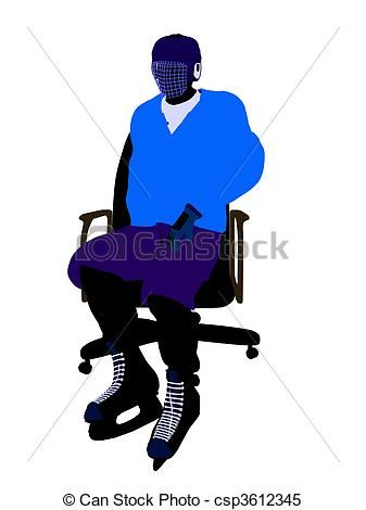 337x470 Male Hockey Player Sitting On A Chair Illustration Silhouette