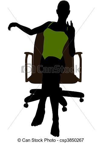 337x470 African American Female In A Swimsuit Sitting On An Office Chair