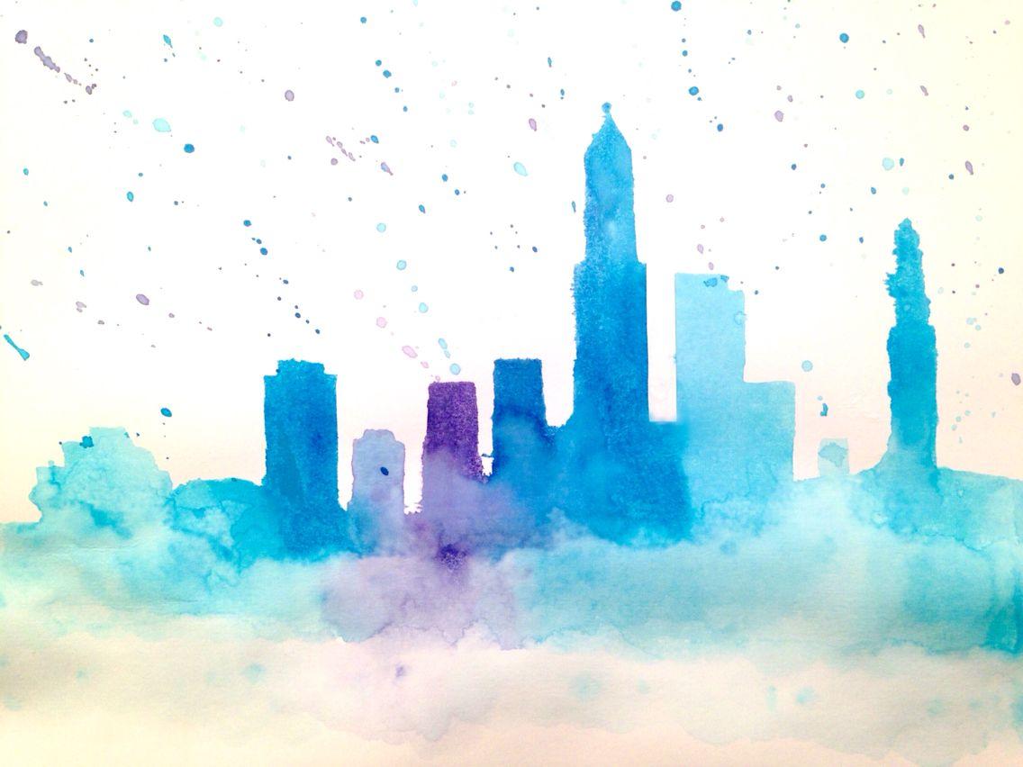 1136x852 Cleveland Skyline Watercolor Silhouette Coisas Legais Pra Por