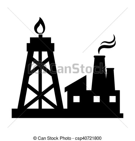 450x470 Oil Rig Tower And Factory Building. Silhouette Vector Vector