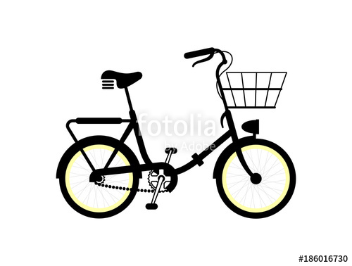 500x378 Vintage Kids Bicycle Silhouette. Simple Vector Illustration