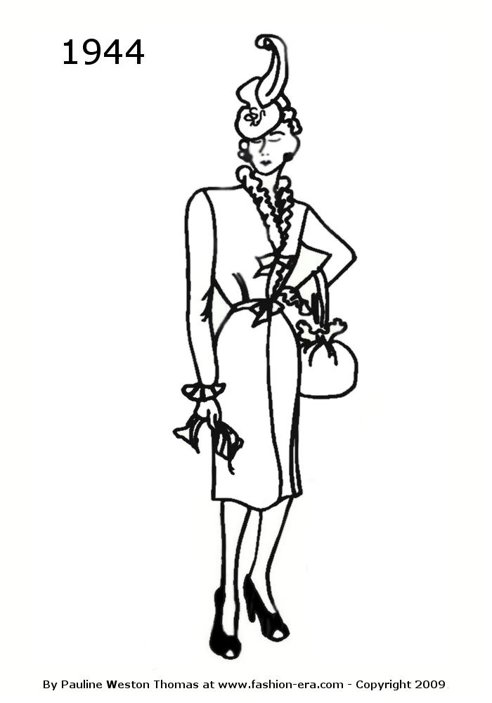 700x1000 Costume History Dress Silhouettes 1940s Free Line Drawings