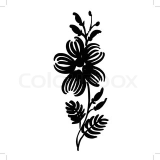 320x320 Decorative Silhouette Of Woman With Flowers And Circles Stock