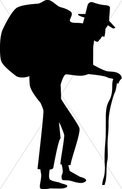 397x612 Old Man With Burden Silhouette Human Suffering Clipart