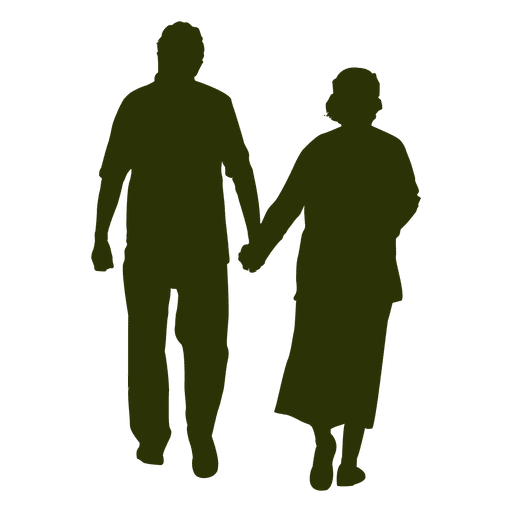 512x512 Old Couple Silhouette