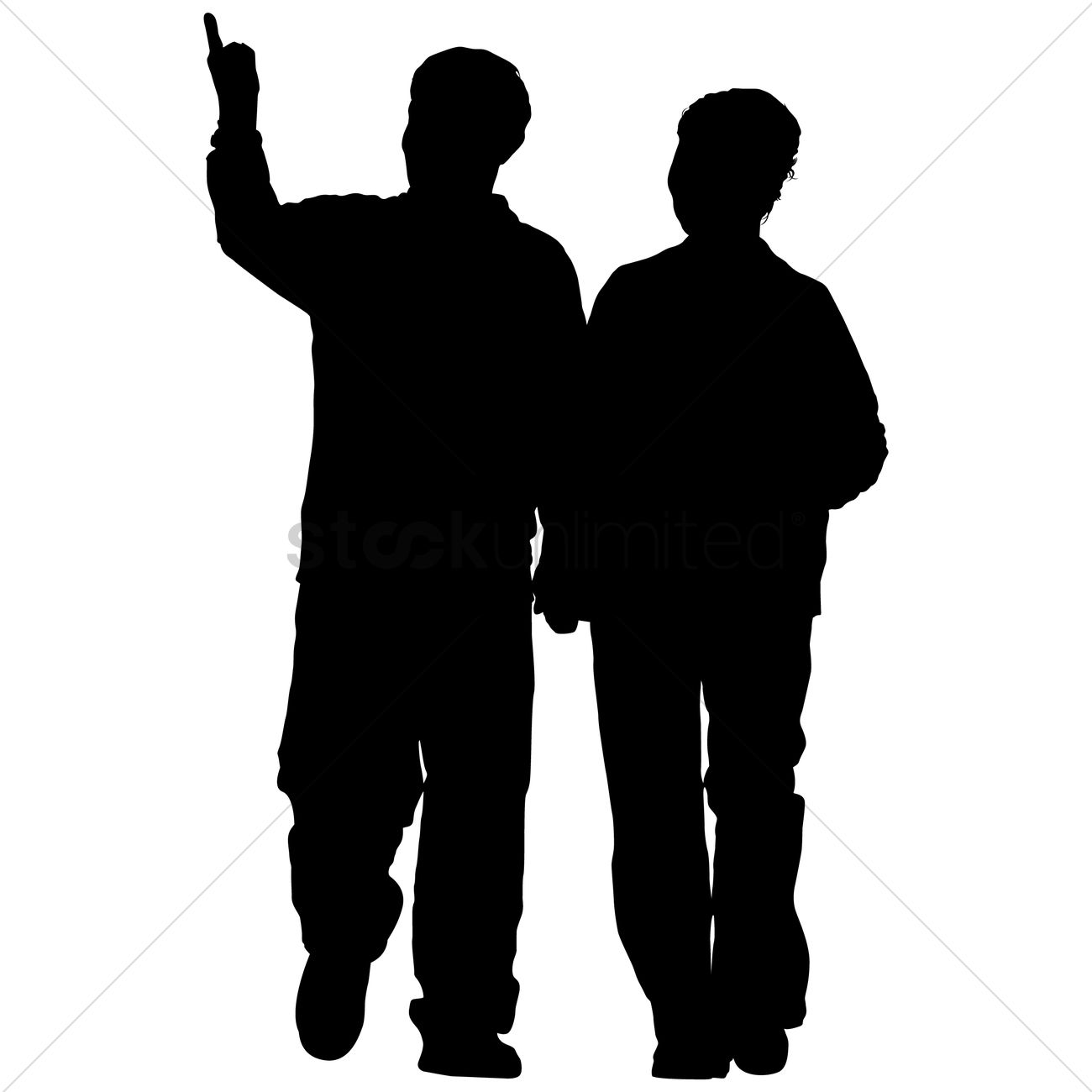 1300x1300 Old Couple Silhouette Vector Image