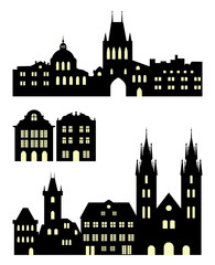 195x240 Old Town Silhouettes Set. Seamless City Skylines In Different