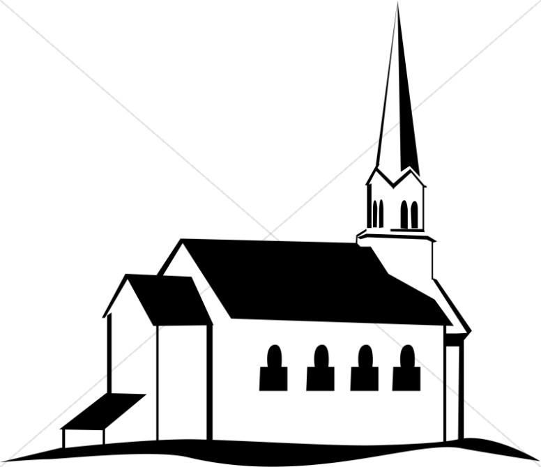 776x670 Black And White Church On A Hill Church Clipart