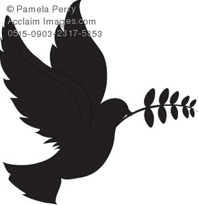 289x300 Art Illustration Of Dove Carrying An Olive Branch In Silhouette