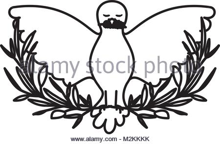 450x295 Vector Illustration Of Dove Silhouette With Olive Branch. Peace