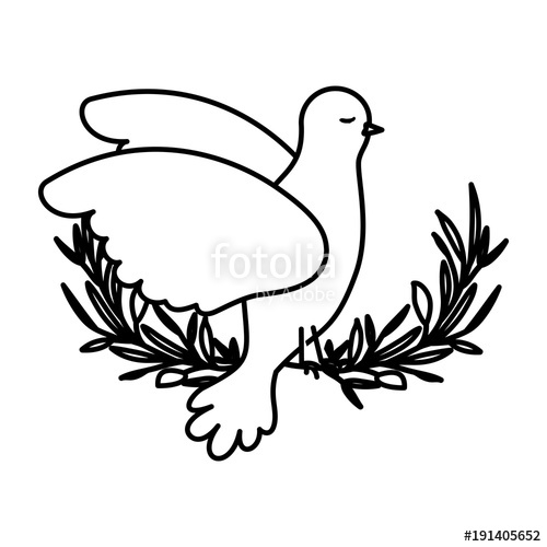 500x500 Pigeon Peace Symbol Side View In Olive Branch On Black Silhouette