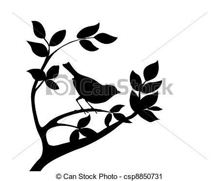 450x371 Bird On Branch Clipart Silhouette