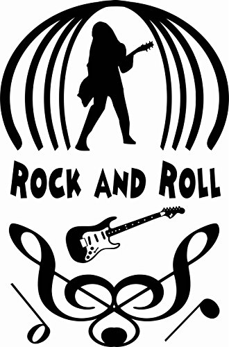 330x500 Rock And Roll (With Guitarist Silhouette On Stage) Wall Vinyl