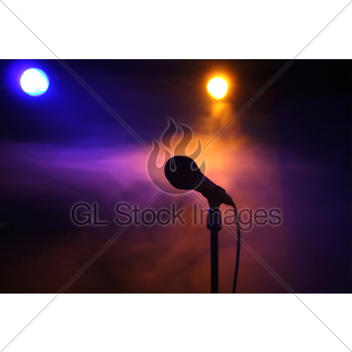 500x500 Mic On Stage Gl Stock Images