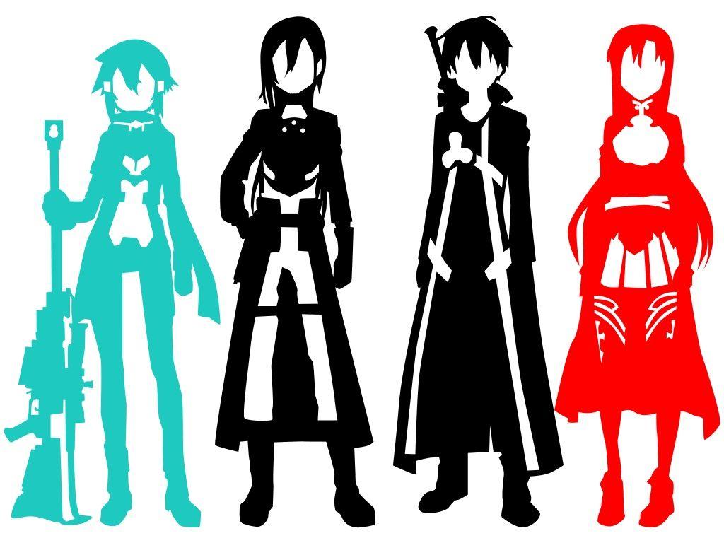 1024x768 Sao Silhouettes By Smallrinilady On Sword Art Online