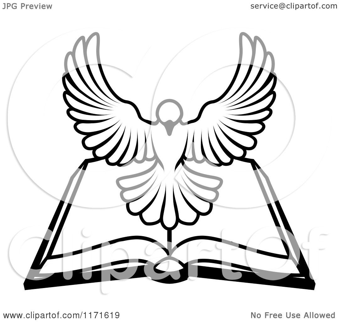 1080x1024 Cartoon Of A Black And White Holy Spirit Dove Above An Open Bible