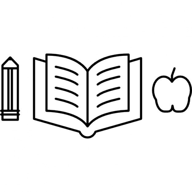 626x626 Pencil With An Open Book And Apple Silhouette Icons Free Download