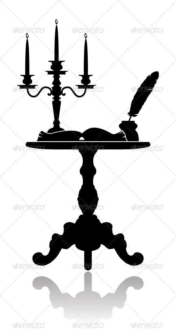590x1104 Coffee Table With A Candelabrum Open Book, Coffee And Font Logo
