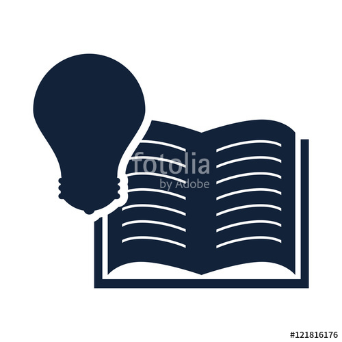 500x500 Open Book Education Object With Bulb Light Icon Silhouette. Vector