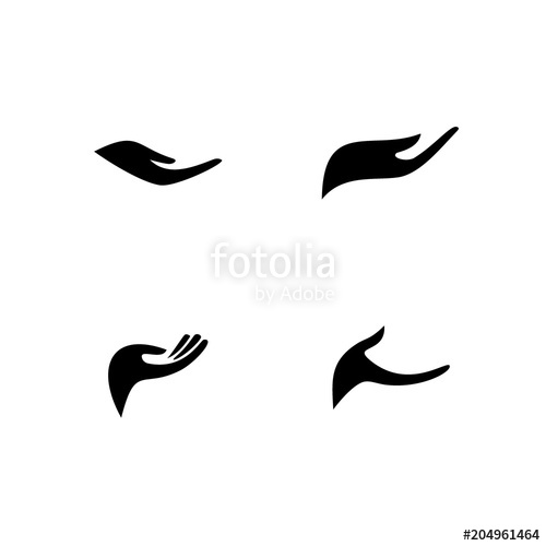500x500 Hand Silhouette Icon, Open Hand Logo. Stock Image And Royalty