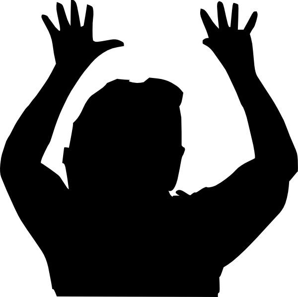 600x598 Raising Hands Silhouette Clip Art Free Vector In Open Office