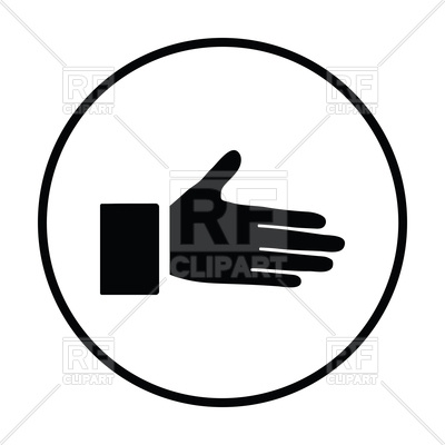 400x400 Thin Circle Design Of Open Hand Icon Royalty Free Vector Clip Art