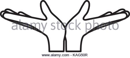 450x200 Pair Open Hands Gesture On Colorful Silhouette Stock Vector Art