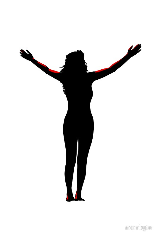 534x800 Open Arms Silhouette With Clipping Path Stickers By Morrbyte