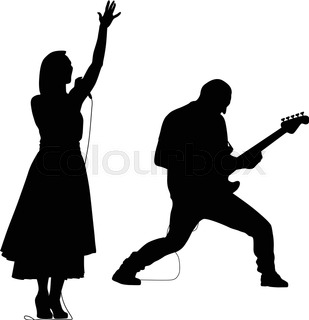 309x320 Man Singer Woman Singer And Drummer Silhouette Vector Stock