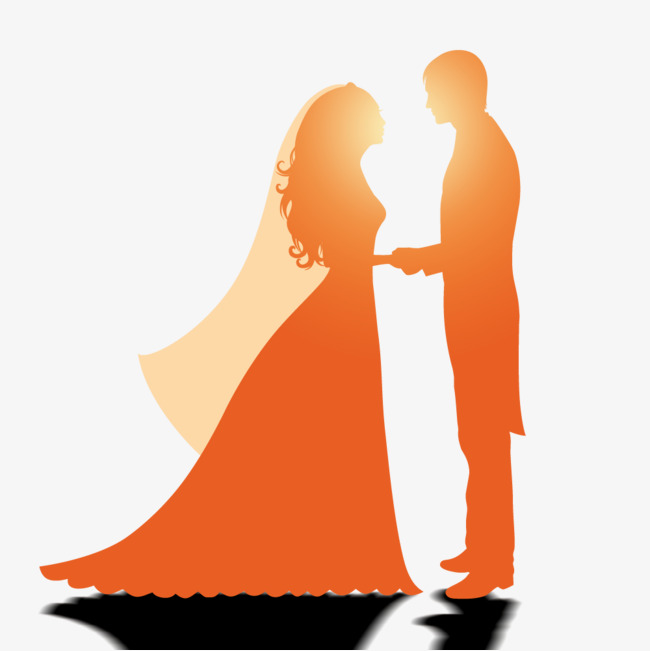 650x651 New Hand On The Silhouette, Orange, Silhouette, Wedding Png Image