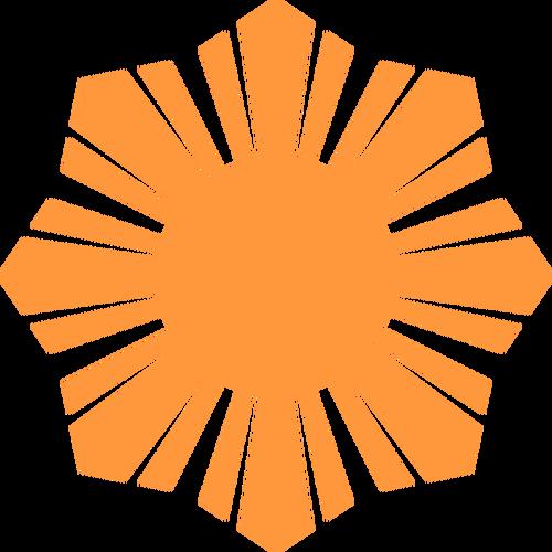 500x500 Phillippine Flag Sun Symbol Orange Silhouette Vector Illustration