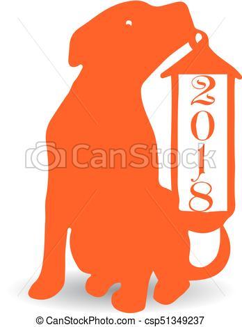 348x470 Dog With Christmas Lantern, Orange Silhouette On White Vectors